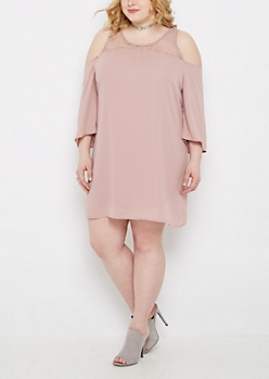 Plus Pink Lace Yoke Cold Shoulder Dress