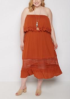 Plus Brown Flounced Off-Shoulder Dress