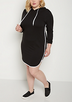 Plus Black Hooded Dolphin Hem Dress