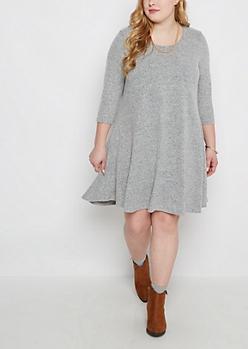 Plus Gray Soft Marled Sweater Dress