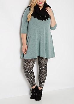 Plus Light Blue Soft Marled Sweater Dress
