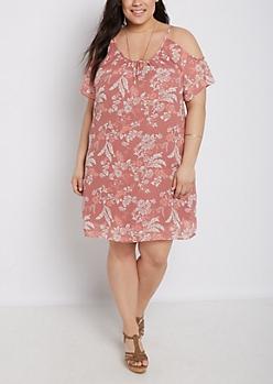 Plus Floral Folklore Cold Shoulder Dress