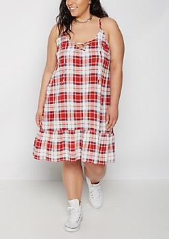Plus Plaid Lace-Up Cami Dress
