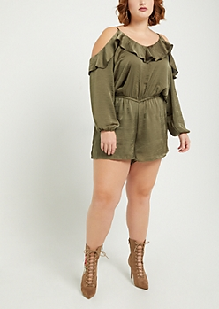 Plus Olive Satin Flounced Romper