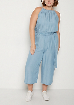 Plus High Neck Chambray Jumpsuit