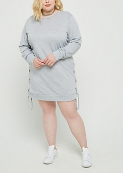 Plus Heather Gray Lace Up Sweatshirt Dress