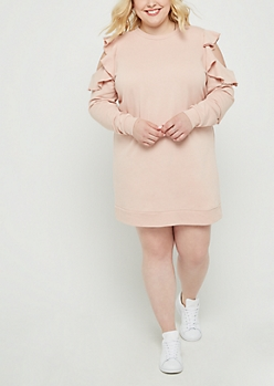 Plus Ruffled Cold Shoulder Sweatshirt Dress