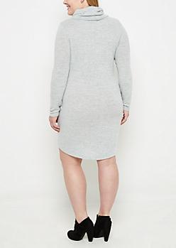 Plus Heather Gray Cowl Neck Sweater Dress