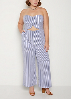Plus Striped Cutout Flare Jumpsuit