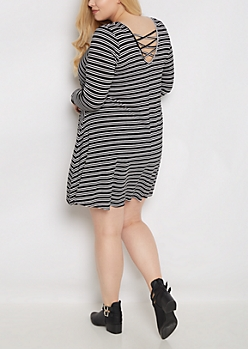 Plus Striped Lattice Back Swing Dress