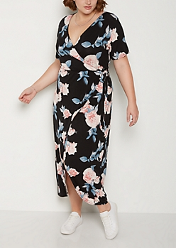 Plus Rose Surplice Wrap Maxi Dress