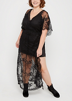 Plus Eyelash Lace Surplice Maxi Dress