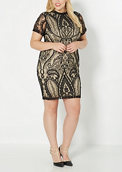 Plus Black Lace illusionist Dress