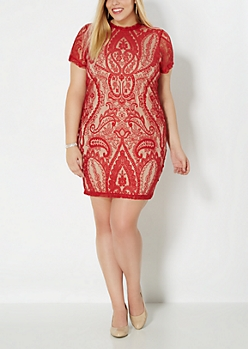 Plus Red Lace illusionist Dress