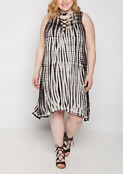 Plus Tie Dye Lattice Neck Swing Dress
