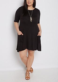 Plus Black Pocketed Swing Dress