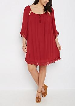 Plus Burgundy Crochet Trimmed Cutout Dress