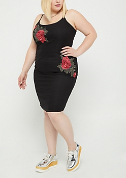 Plus Embroidered Rose Mesh Dress