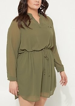 Plus Olive Tie Waist Shirt Dress