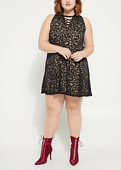Plus Black Lace Lattice Swing Dress