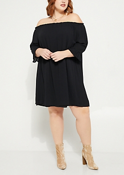 Plus Black Off The Shoulder Woven Dress