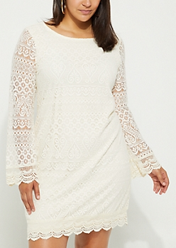 Plus Geo Lace Bell Sleeve Dress