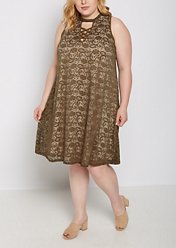 Plus Olive Lattice Swing Dress