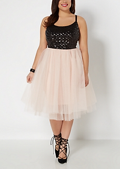Plus Sequined Diamonds Party Dress