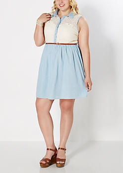 Plus Chambray Meets Lace Dress
