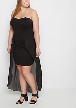Plus Sweetheart Chiffon Tail Bodycon Dress