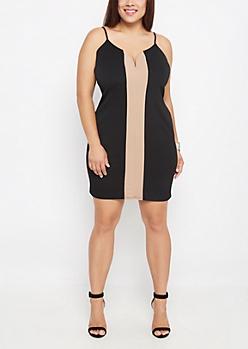 Plus Taupe Stripe Bodycon Dress