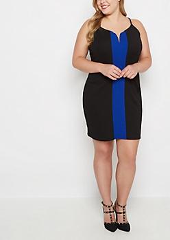 Plus Royal Blue Stripe Bodycon Dress