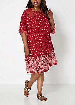 Plus Burgundy Gypsy Crochet Shift Dress