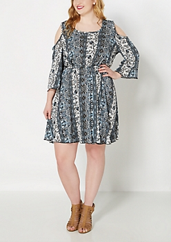 Plus Light Blue Boho Cold Shoulder Dress