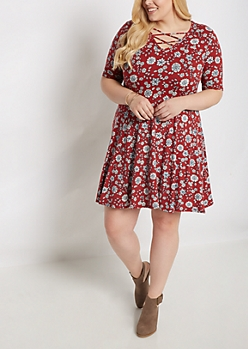 Plus Floral Mandala Lattice Skater Dress