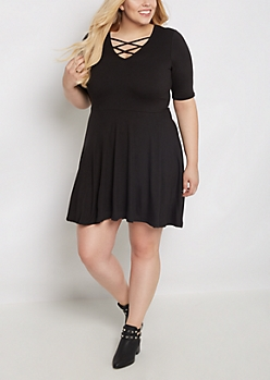 Plus Black Lattice Skater Dress