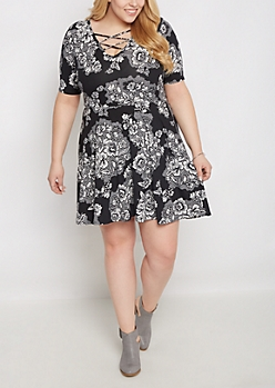 Plus Floral Bloom Lattice Skater Dress