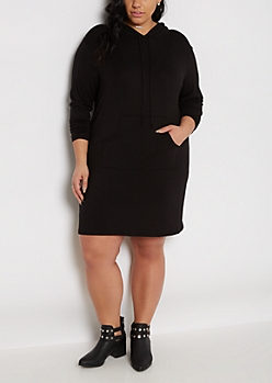 Plus Black Hoodie Dress
