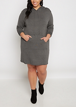 Plus Charcoal Gray Hoodie Dress