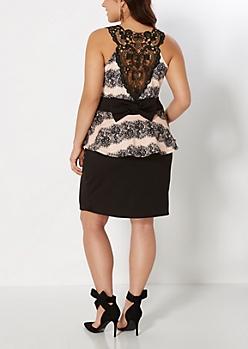 Plus Laced Up Peplum Dress