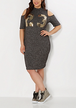Plus Sequined 23 Cold Shoulder Dress
