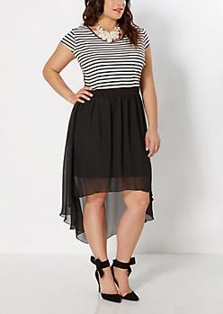 Plus Striped Lace Back Dress