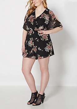 Plus Rose Chiffon Cold Shoulder Romper