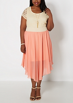 Plus Coral Hanky Hem Dress