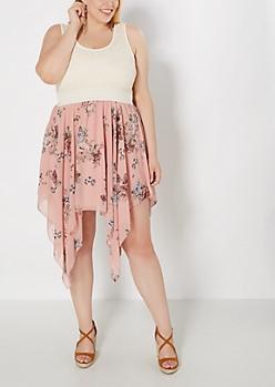 Plus Pink Rose Sharkbite Dress