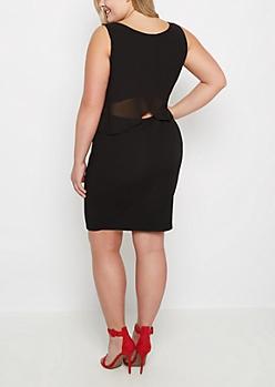Plus Black Chiffon Popover Dress