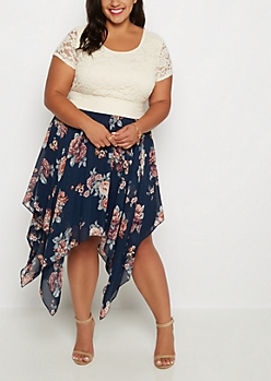 Plus Navy Rose Sharkbite Dress
