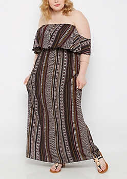 Plus Striped Tribal Off-Shoulder Maxi Dress