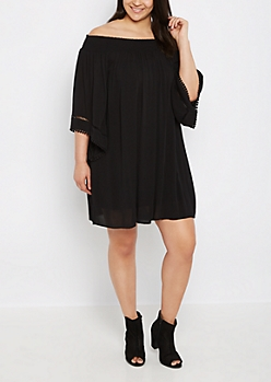 Plus Black Boho Off Shoulder Dress