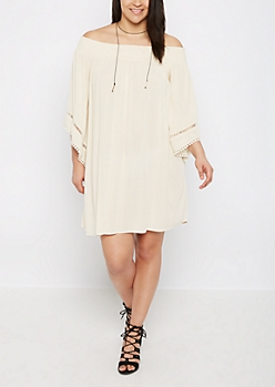 Plus Ivory Boho Off Shoulder Dress